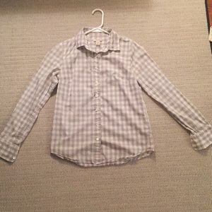 Grey and white gingham button down